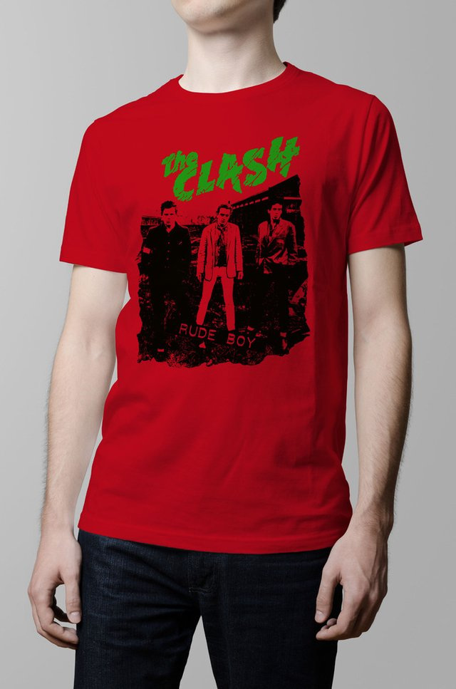 Remera The Clash rude boy roja hombre