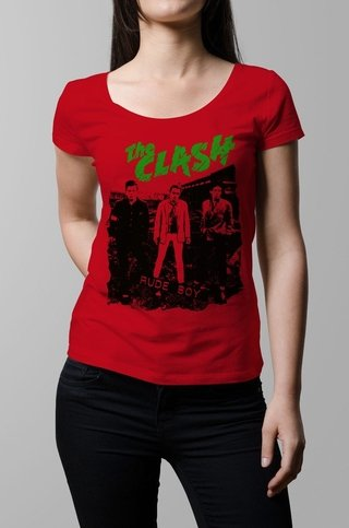Remera The Clash rude boy rojo mujer