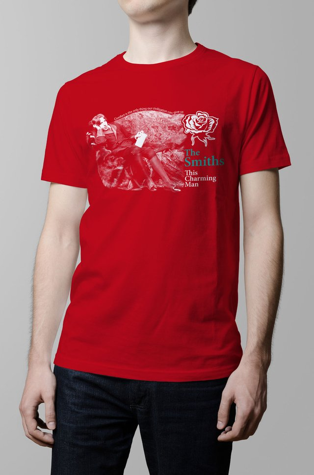 Remera The Smiths this charming man roja hombre