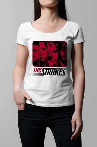 Remera The Strokes blanca mujer