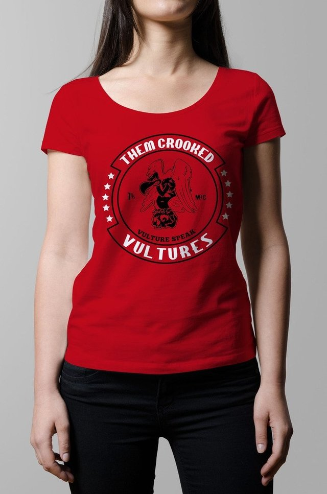 Remera Them Crooked Vultures roja mujer