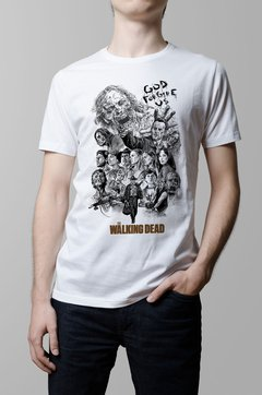 Remera The Walking Dead blanca hombre