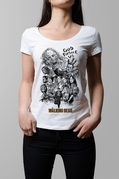 Remera The Walking Dead blanco mujer
