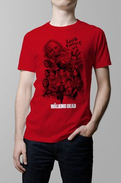 Remera The Walking Dead roja hombre