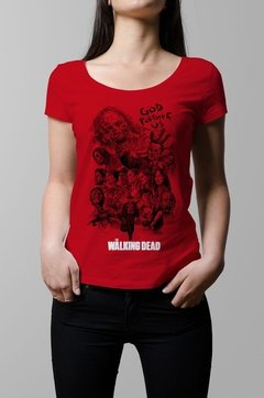 Remera The Walking Dead roja mujer