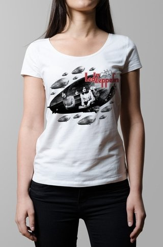 Remera Led Zeppelin blanca mujer