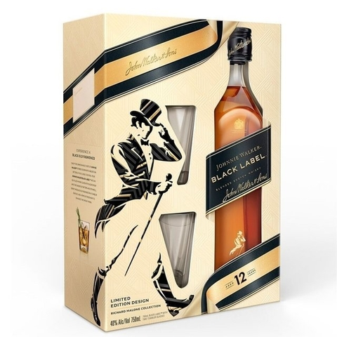 Johnnie Walker Black Label Estuche x 750ml + dos vasos