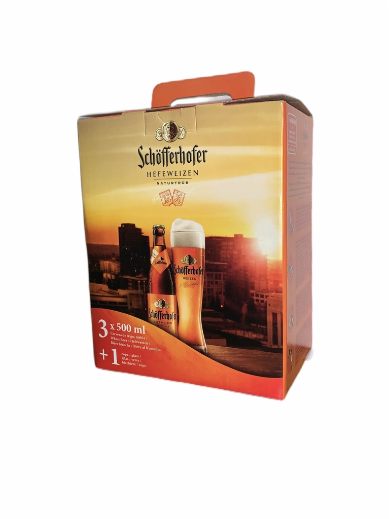 Schofferhofer Estuche 3 x500 ml + vaso