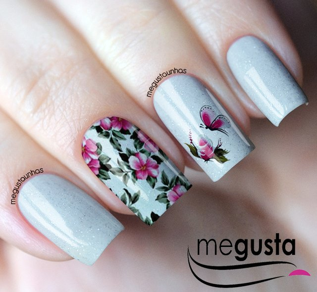 Sticker / Nail Floral film with Pink Flower and Butterfly - FL01