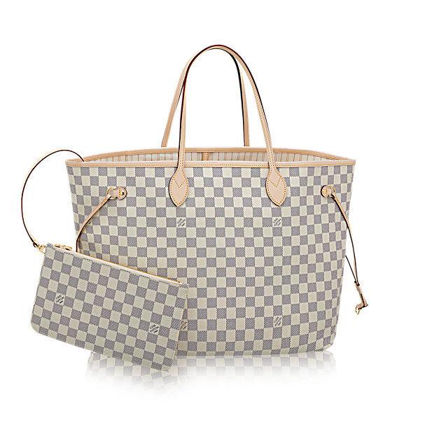 171ad5713 Bolsa Neverfull Damier Azur MM - couro Premium com bolsinha