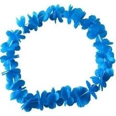 Collar Hawai flores tela 1 color c/led blanco. - tienda online
