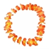 Collares 20 Hawaii flores tela 1 color c/led blanco Pack Amigas - Cotillón Luminoso y Alquiler de livings luminosos.
