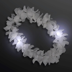 Collar+Vincha Hawai c/led blanco. Kit Flores y Led. - comprar online