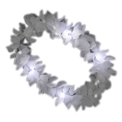 Collar Hawai flores tela 1 color c/led blanco.