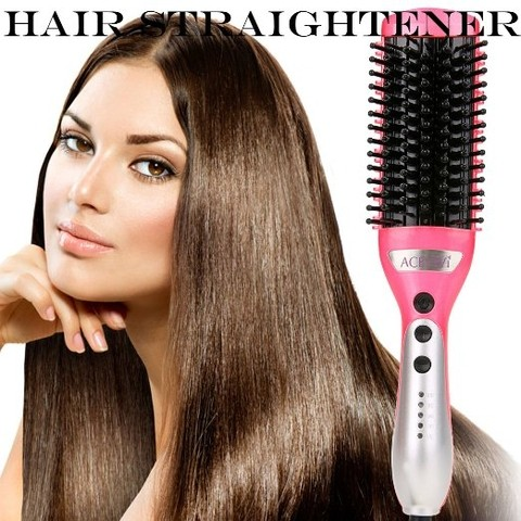 ACEVIVI Electric Hair Straightener Comb Heating Detangling Hair Brush Pink 400° F (super desconto de 30%)