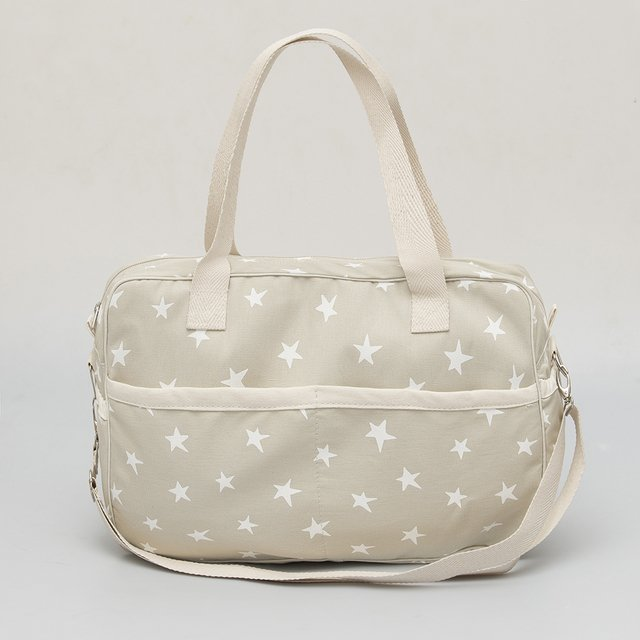 Maternity Bag, pearl grey with white stars on internet