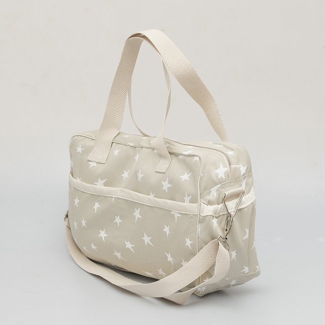 Maternity Bag, pearl grey with white stars - buy online