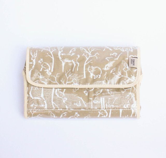 Portable Changing Mat, beige with white animals