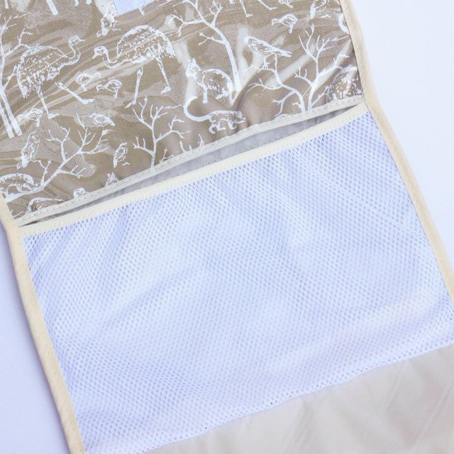 Portable Changing Mat, beige with white animals - Cosa Bonita