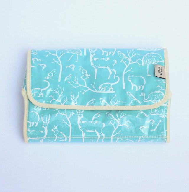 Portable Changing Mat, aqua with white animals