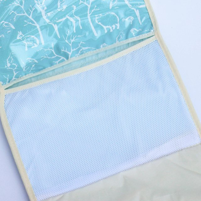 Portable Changing Mat, aqua with white animals - Cosa Bonita