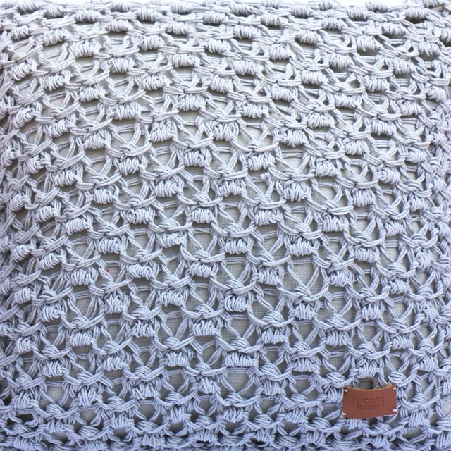 Tall Origami Cushion, pearl grey eyelet stitch - buy online