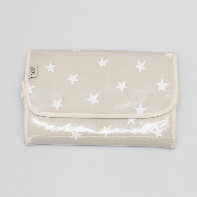 Portable Changing Mat, pearl grey with white stars