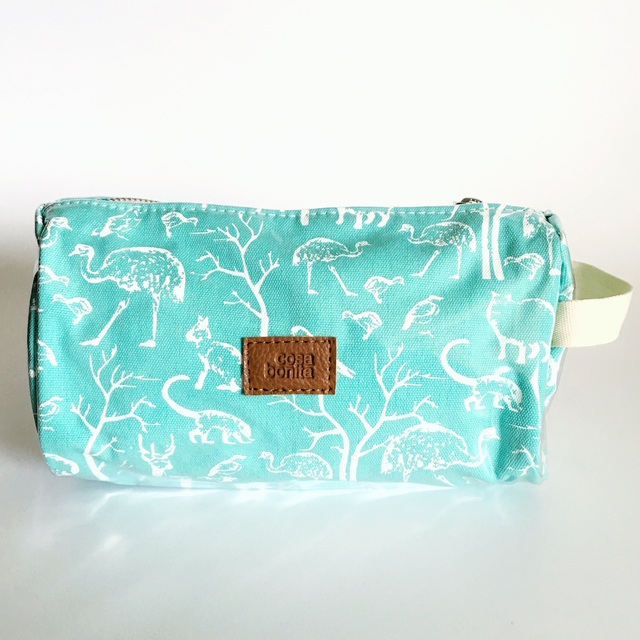 Fiambalá Pouch, plasticized, aqua with white animals
