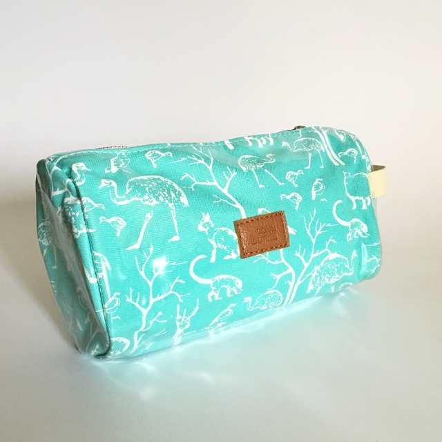 Fiambalá Pouch, plasticized, aqua with white animals - buy online