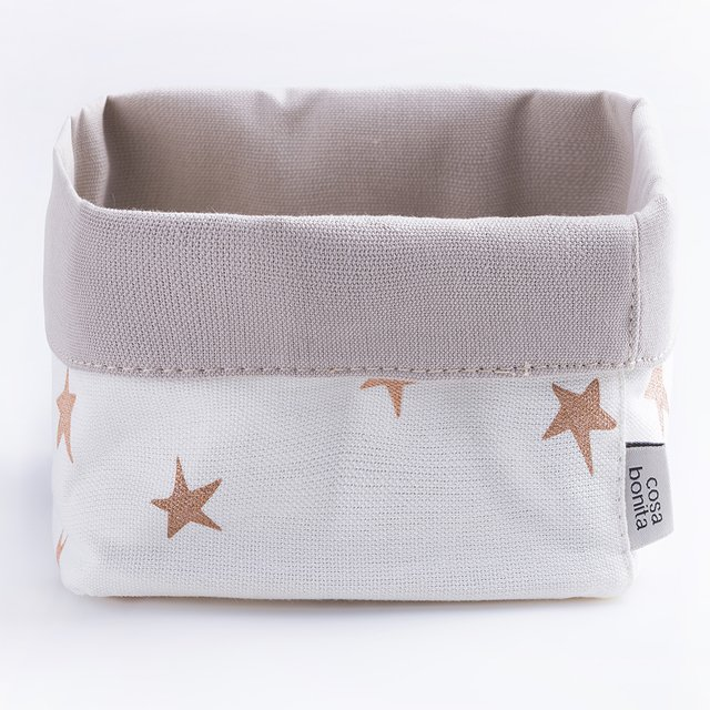Small Basket, ecru with cooper stars