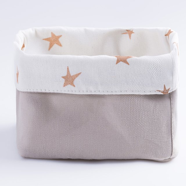 Small Basket, ecru with cooper stars - buy online
