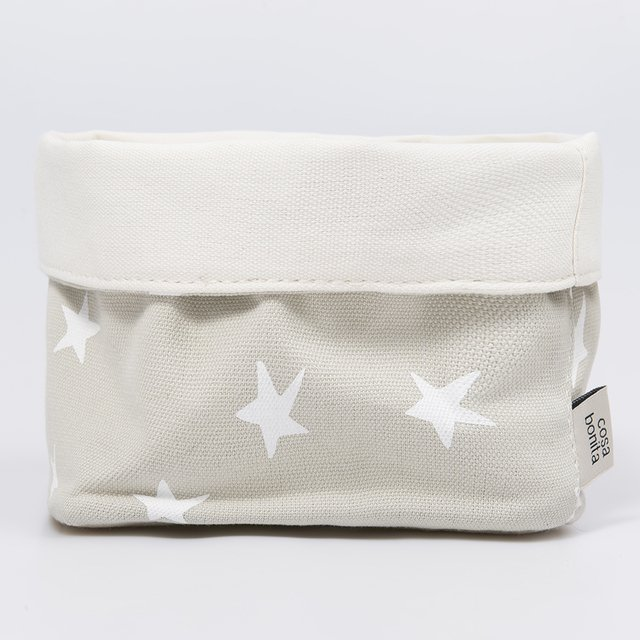 Small Basket, pearl grey with white stars   - buy online