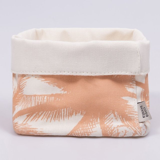 Small Basket, ecru with salmon palm trees - buy online