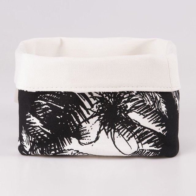 Small Basket, ecru with black palm trees