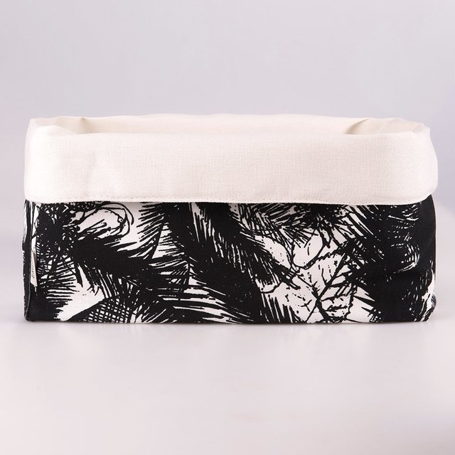 Medium Basket, ecru with black palm trees