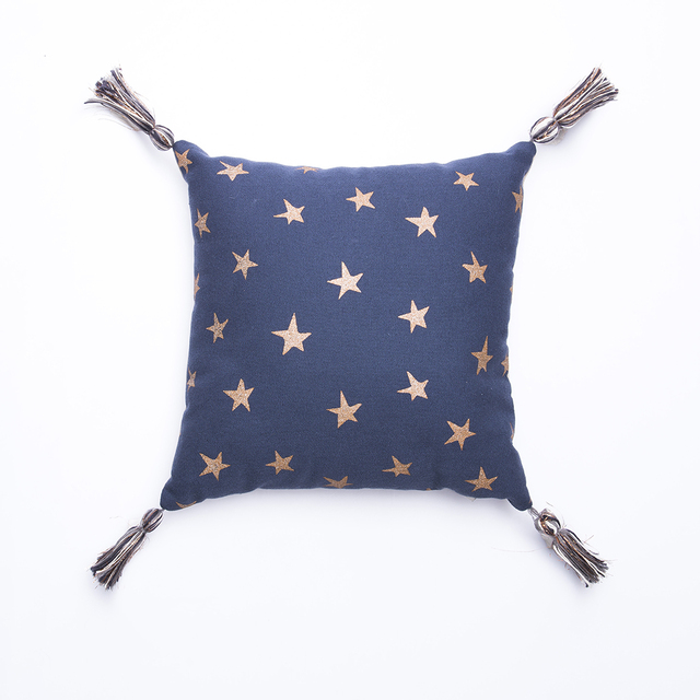 Cafayate Cushion, blue with cooper stars