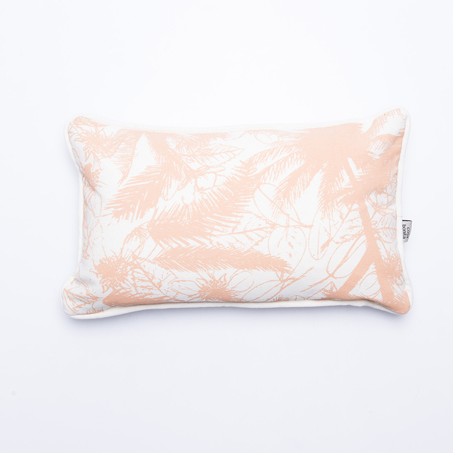 Amatista Cushion, ecru with salmon palm trees