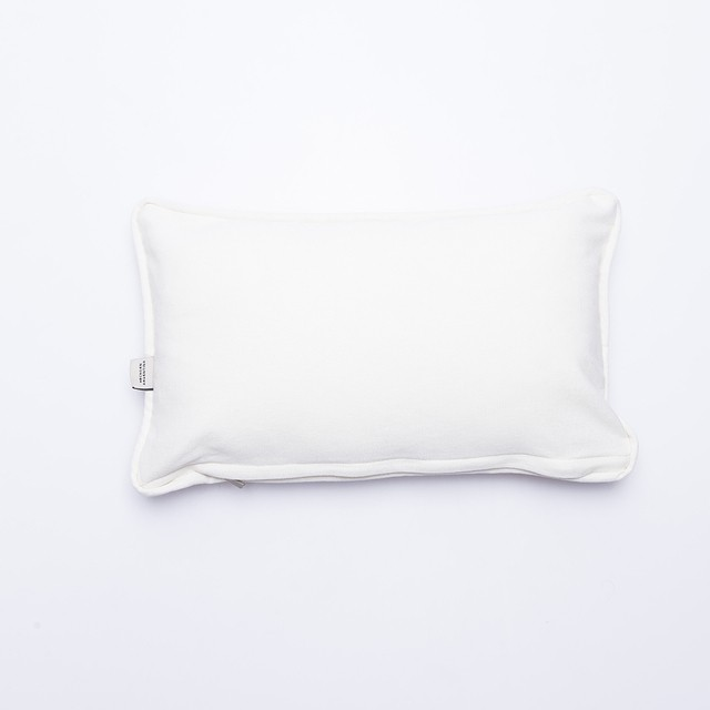 Amatista Cushion, ecru with salmon palm trees on internet