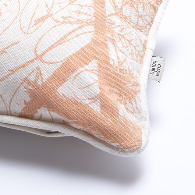 Amatista Cushion, ecru with salmon palm trees - buy online