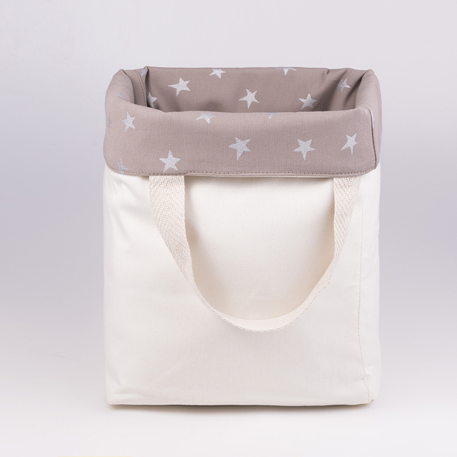 Tall Basket, taupe with silver stars on internet