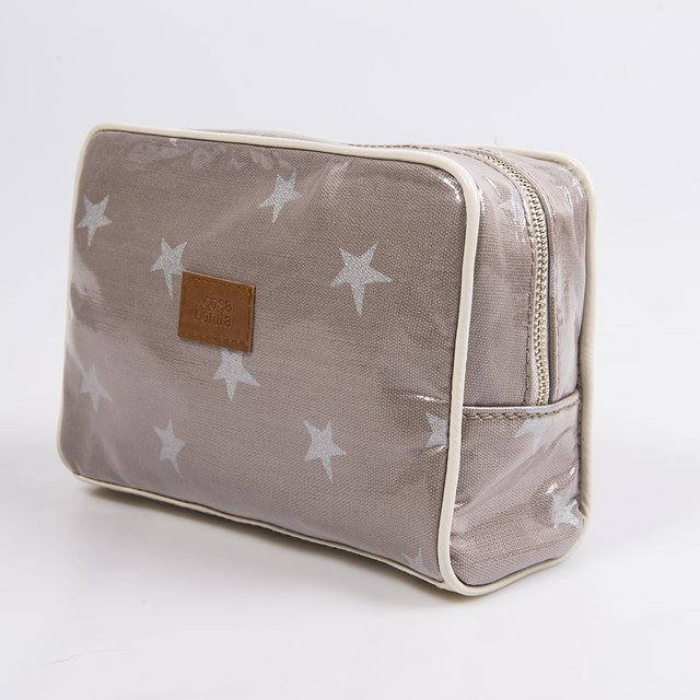 Topacio Pouch, plasticized, taupe with silver stars   on internet