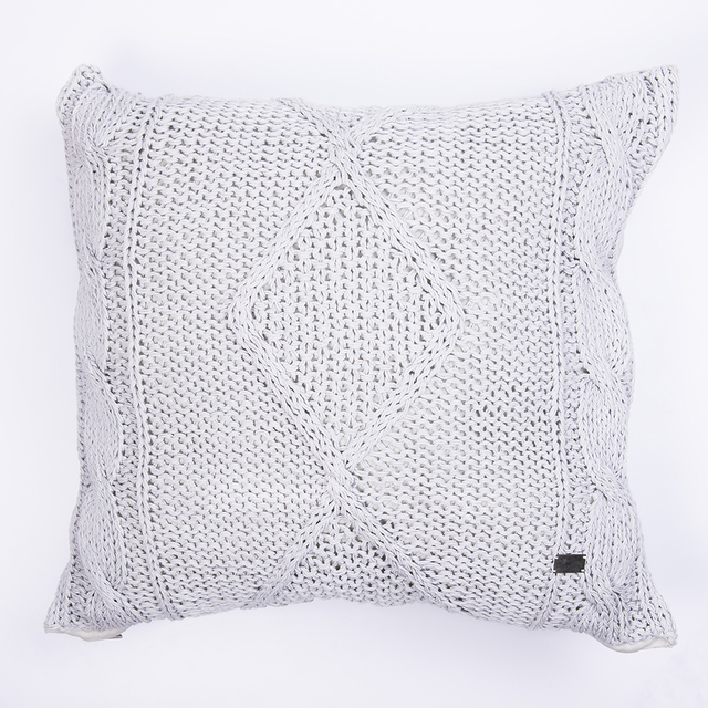 Tall Hong Kong Cushion, pearl grey cable stitch