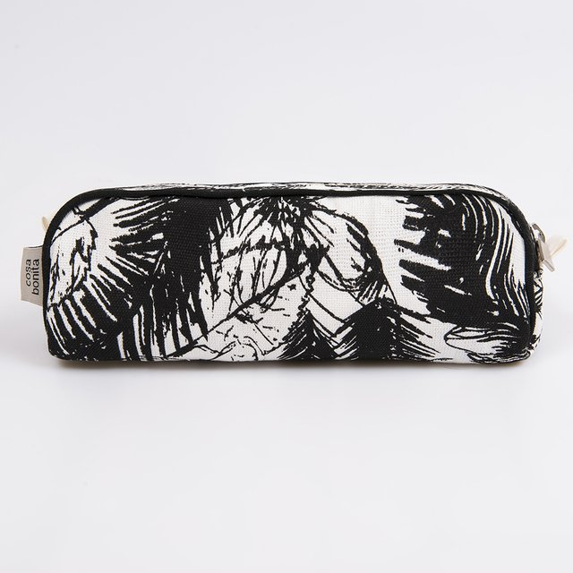 Angastaco Pencil case, ecru with black palm trees on internet