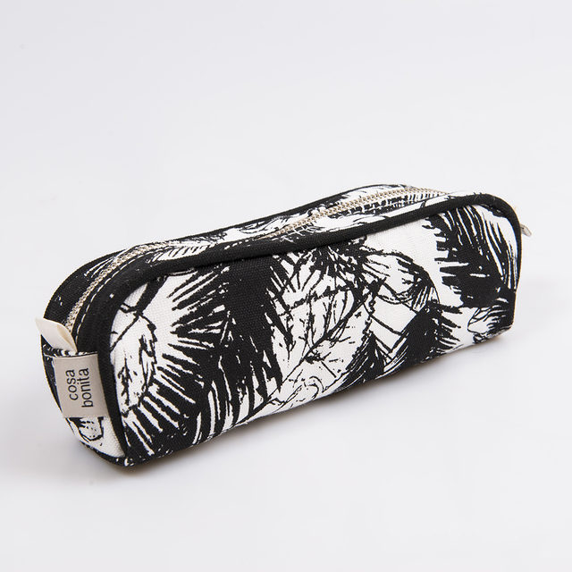 Angastaco Pencil case, ecru with black palm trees - buy online