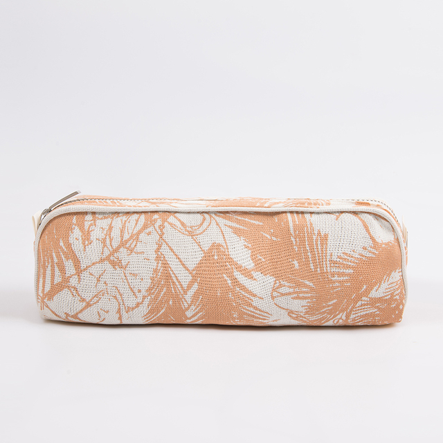 Angastaco Pencil case, ecru with salmon palm trees on internet