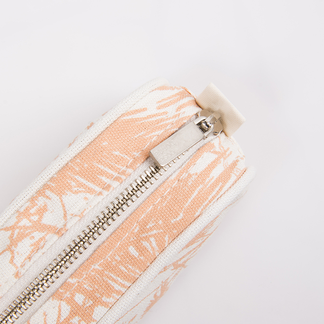 Angastaco Pencil case, ecru with salmon palm trees - Cosa Bonita