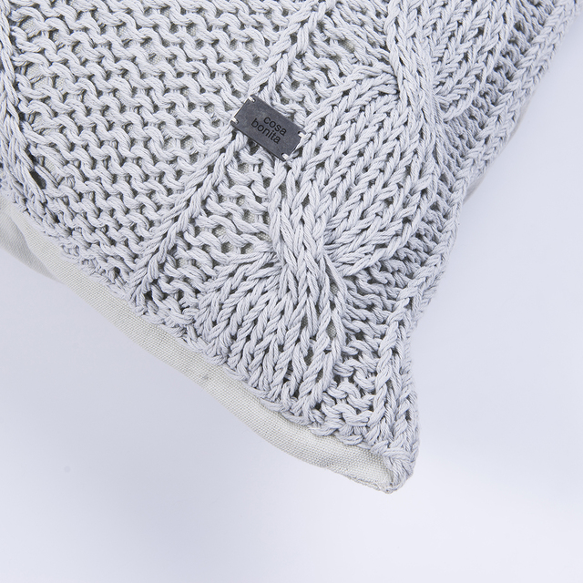 Tall Hong Kong Cushion, pearl grey cable stitch on internet