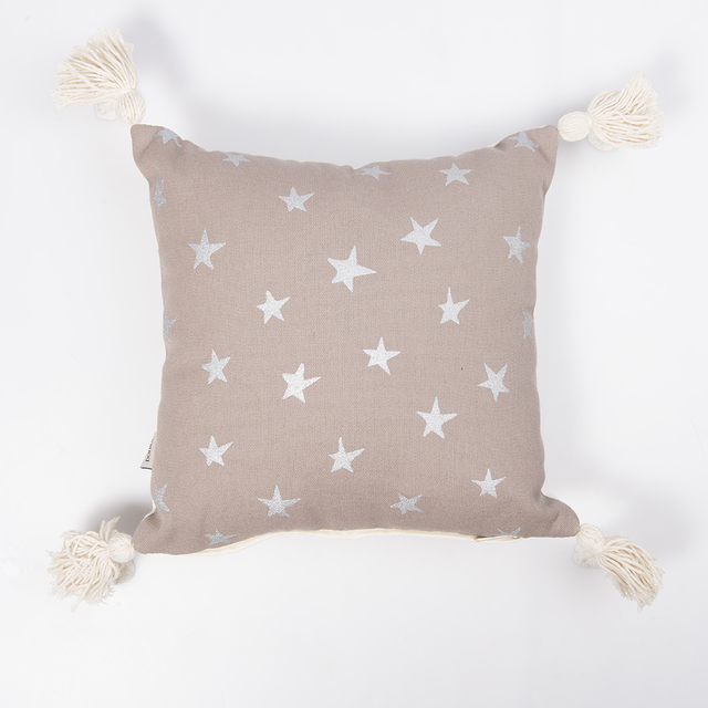 Cafayate Cushion, taupe with silver stars - buy online
