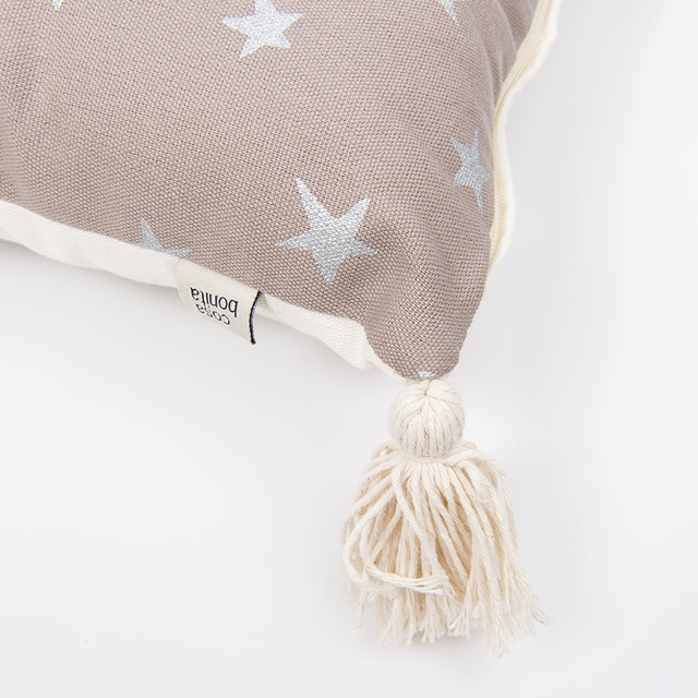Cafayate Cushion, taupe with silver stars - Cosa Bonita