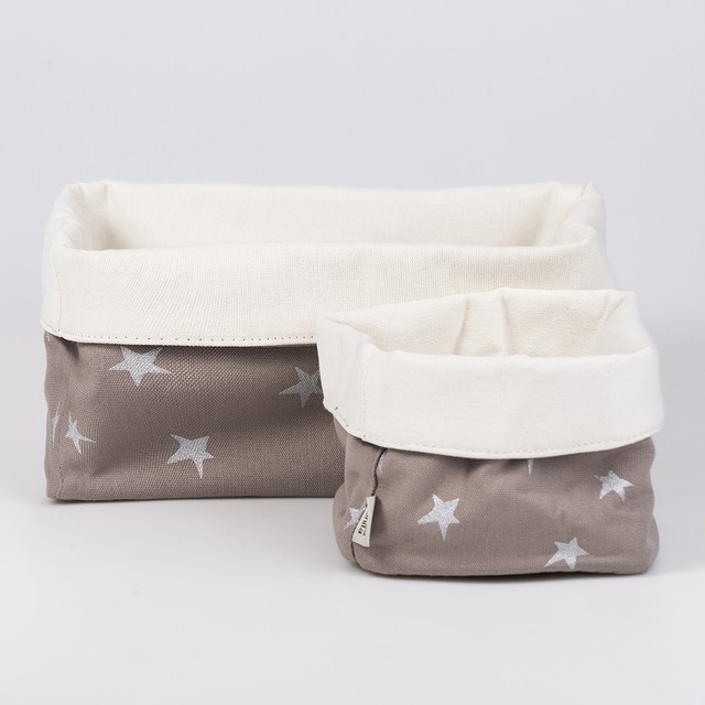 Medium Basket, taupe with silver stars   - buy online